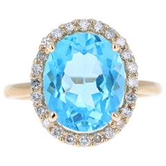 6.37 Carat Blue Topaz Diamond Yellow Gold Cocktail Ring