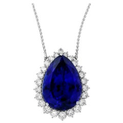 63.75 Carat Pear Shaped Blue Tanzanite and White Diamond Necklace 18 Karat Gold