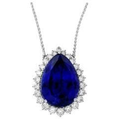63.75 Carat Pear Shaped Tanzanite and White Diamond Necklace