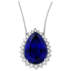 63.75 Carat Pear Shaped Tanzanite & White Diamond Necklace