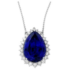 63.75 Carat Pear Shaped Tanzanite and White Diamond Necklace