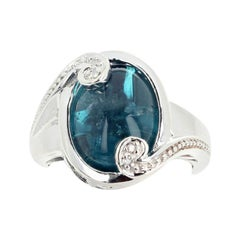6.38 Carat Blue Indicolite Tourmaline and Diamond Ring