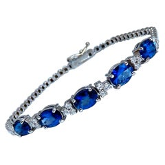 6.38 Carat Natural Vivid Royal Blue Round Sapphires Diamond Bracelet 14 Karat