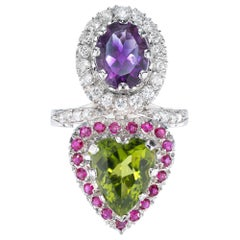 6.38 Carat Peridot Amethyst Ruby Diamond Platinum Cocktail Ring