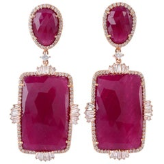 63.84 Carat Ruby Diamond 18 Karat Gold Earrings