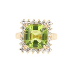 6.39 Carat Peridot Diamond 14 Karat Yellow Gold Ring