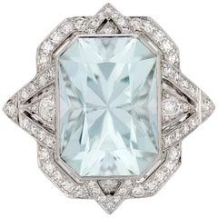 6.39 Carat Radiant Cut Aquamarine and Diamond Ring in Platinum