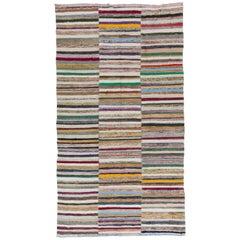 6.3x11.4 Ft Colorful Vintage Cotton Kilim 'Flat-Weave'. Rag Rug for Home-Office