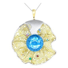 64 Carat Blue Topaz, Multi-Color Gemstone and Diamond Pendant Brooch Pin