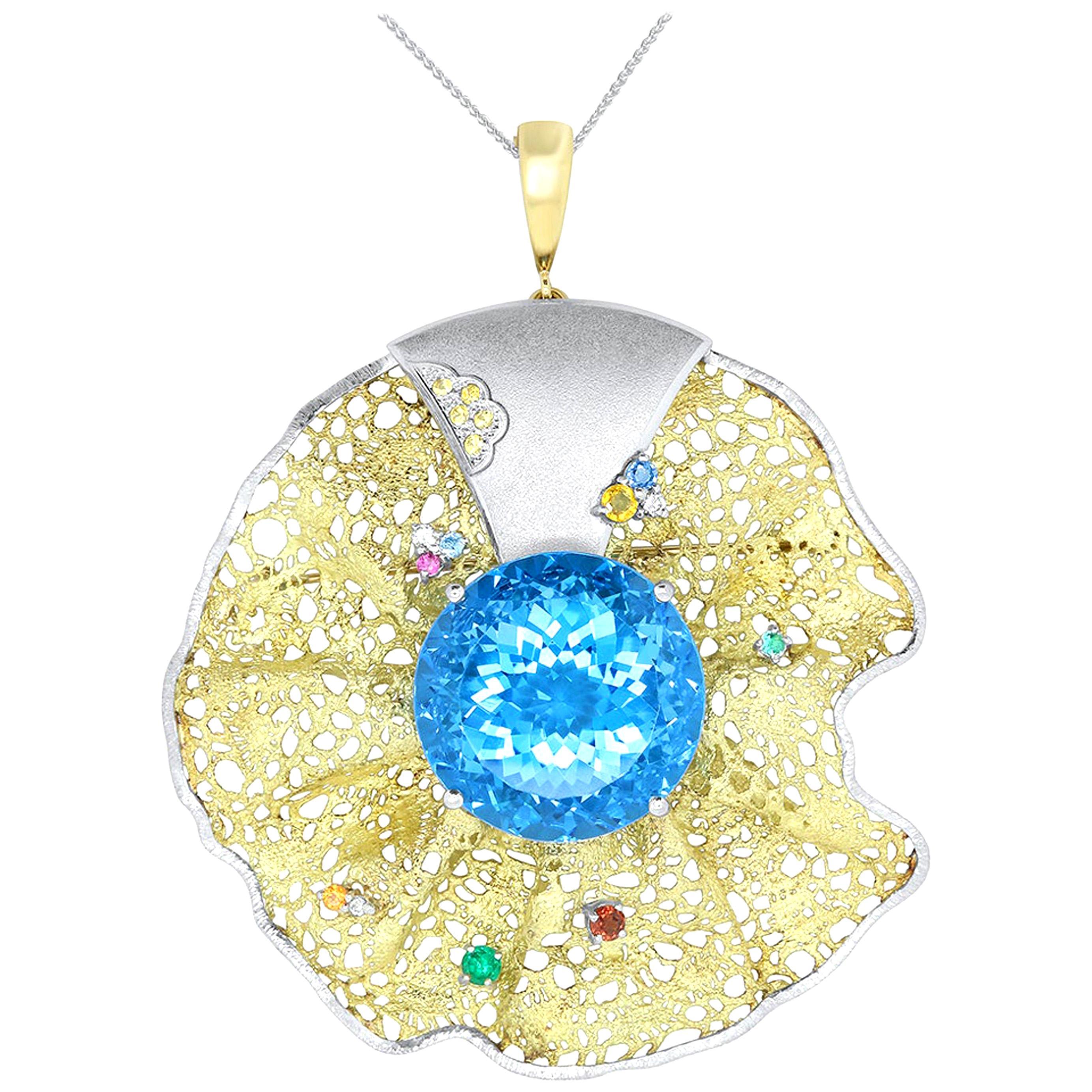 64 Ct Round Blue Topaz Multi-Color Gemstone Diamond Pendant Brooch Pin 18K Gold