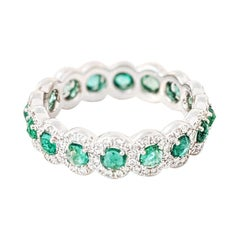 64 Facets 1 Carat Emerald and Diamond Ring in 18 Karat White Gold