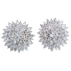 64 Facets 11.77 Eclat Diamond Spiked Stud Earrings in 18 Karat White Gold