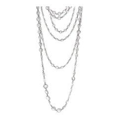 64 Facets 136.11 Carat Rose Cut Diamond Long Chain Necklace in Platinum