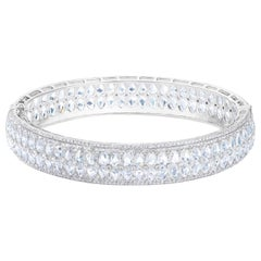 64 Facets 14 Carat Rose Cut Diamond Double Row Bangle in White Gold