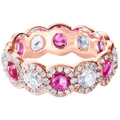 64 Facets 2 Carat Elements Ruby and Diamond Ring in 18 Karat Rose Gold