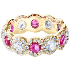 64 Facets 2 Carat Elements Ruby and Diamond Ring in 18 Karat Yellow Gold