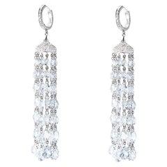 64 Facets 20 Carat Rose Cut Diamond Tassel Chandelier Earrings in White Gold