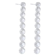 64 Facets 2.10 Carat Scallop Rose Cut Diamond Drop Dangle Earrings in White Gold