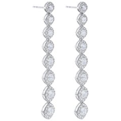 64 Facets 2.60 Carat Cushion Rose Cut Diamond Drop Dangle Earrings in White Gold