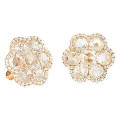64 Facets 3.25 Carat Rose Cut Diamond Flower Stud Earrings in Yellow Gold
