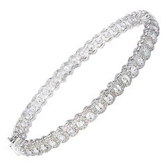 64 Facets 3.40 Carat Rose Cut Diamond Scallop Bangle Bracelet in White Gold