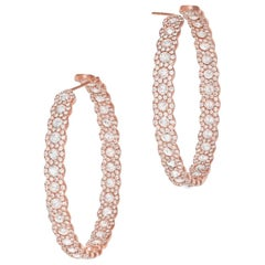 64 Facets 5.50 Carat Scallop Rose Cut Diamond Hoop Earrings in Rose Gold