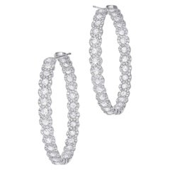 64 Facets 5.50 Carat Scallop Rose Cut Diamond Hoop Earrings in White Gold
