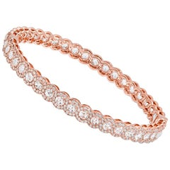 64 Facets 5.75 Carat Rose Cut Diamond Scallop Bangle Bracelet in Rose Gold