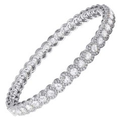 64 Facets 5.75 Carat Rose Cut Diamond Scallop Bangle Bracelet in White Gold