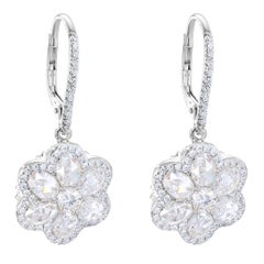 64 Facets Diamond Floral Drop Earrings 1 Carat Rose Cut Diamonds in White Gold