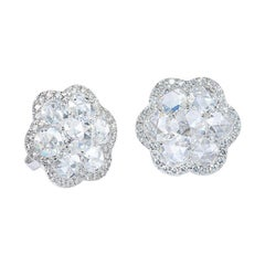 64 Facets Diamond Flower Stud Earrings with Rose Cut Diamonds and White Gold