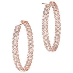 64 Facets Diamond Hoop Earrings, 7.50 Carat Rose Cut Diamonds in Rose Gold