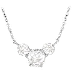 64 Facets Ethereal 0.50 Carat Triple Rose Cut Diamond in 18 Karat White Gold