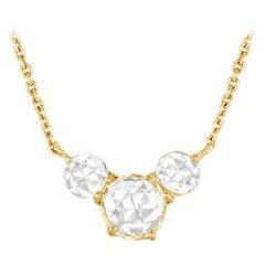 64 Facets Ethereal 0.50 Carat Triple Rose Cut Diamond in 18 Karat Yellow Gold