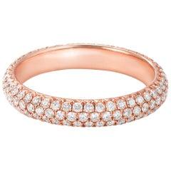 64 Facets Pave Diamond Ring in 18 Karat Rose Gold, 0.75 Carat Diamond Band