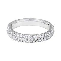 64 Facets Pave Diamond Ring in 18 Karat White Gold, 0.75 Carat Diamond Band