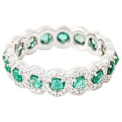 64 Facets Rose Cut Emerald and Diamond Ring in 18 Karat White Gold