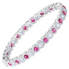 64 Facets Rose Cut Ruby and Diamond Bangle Bracelet in 18 Karat White Gold