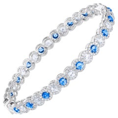 64 Facets Rose Cut Sapphire and Diamond Bangle Bracelet in 18 Karat White Gold