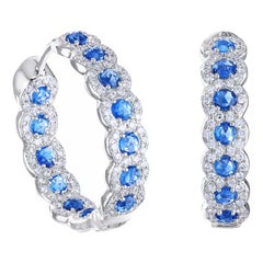 64 Facets Rose Cut Sapphire and Diamond Hoop Earrings in 18 Karat White Gold