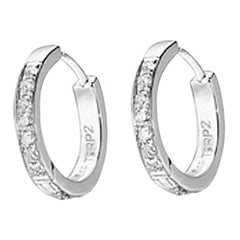 64 Facets Small Diamond Pave Huggie Earrings in 18 Karat White Gold