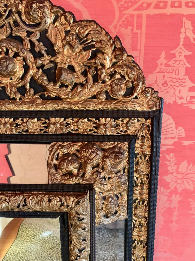 French Ebony Repousse Brass Mirror with Beveled Glass In Good Condition For Sale In Los Angeles, CA