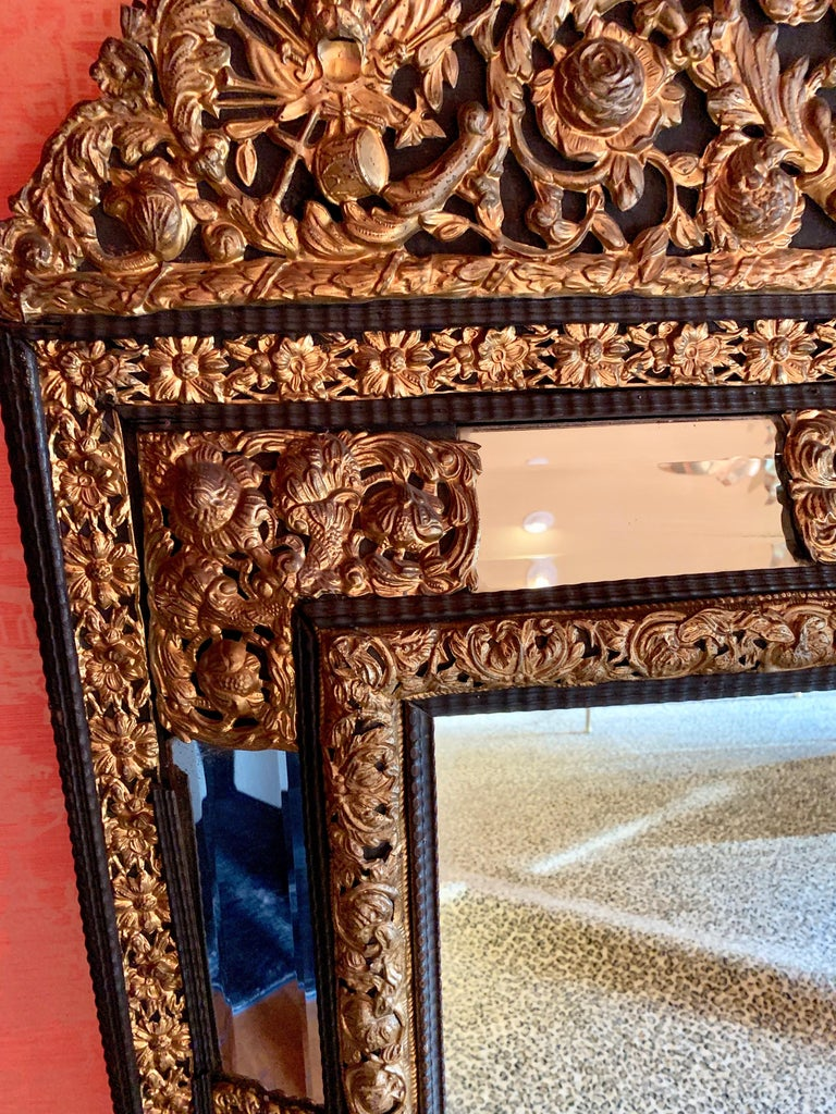 French Ebony Repousse Brass Mirror with Beveled Glass For Sale 1