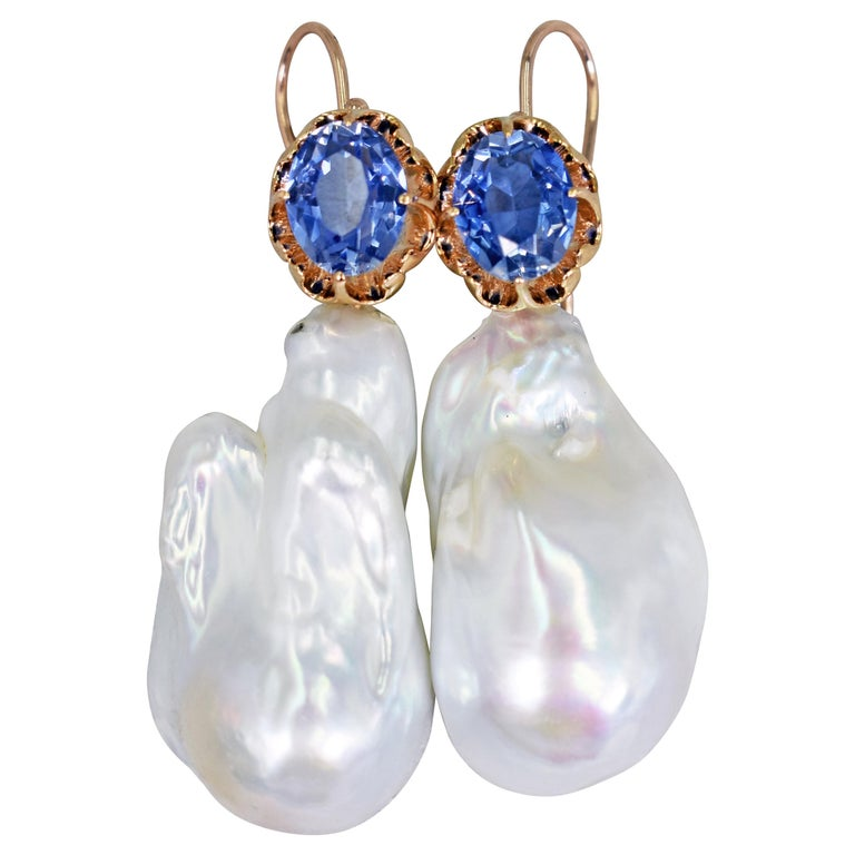 6.40 Carat Lab Sapphire and Baroque Pearl 14 Karat Rose Gold Dangle Earrings For Sale