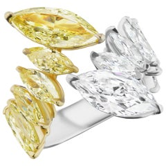 6.40 Carat Marquise Shaped Yellow and White Diamond Two Stone Toi et Moi Ring