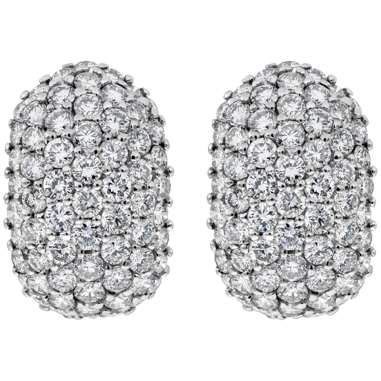 6.40 Carat Micro-Pave Diamond Dome Huggie Earrings