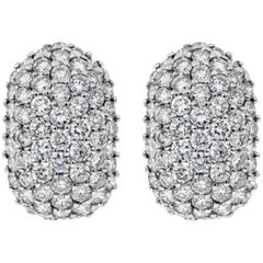 6.40 Carat Micro-Pave Diamond Dome Huggie Earrings