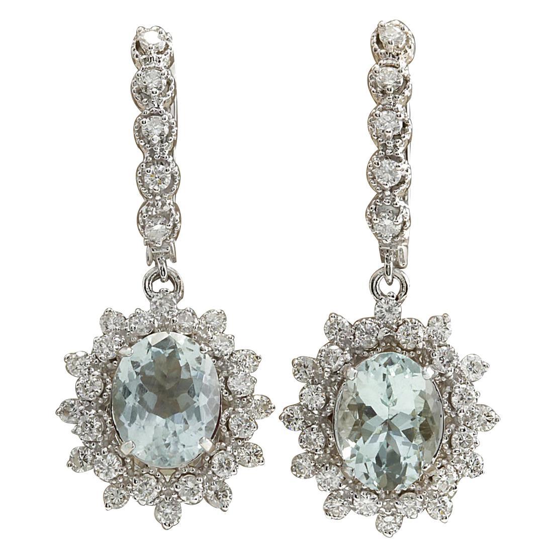 6.40 Carat Natural Aquamarine 18 Karat White Gold Diamond Earrings