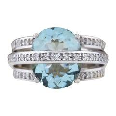 6.40 Carat Natural Aquamarine 18 Karat White Gold Diamond Ring
