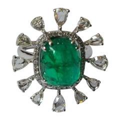 6.40 Carats Natural Emerald Cabochon Ring Set in 18 Karat Gold with Diamonds